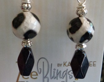 Black and whiteearrings, silver accents, hypo allergenic ear wires