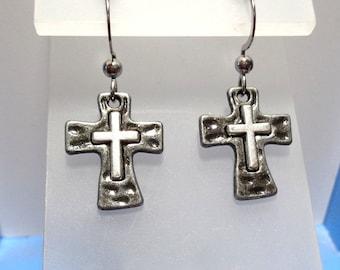Cross earrings, silver and gunmetal, small earrings, Christian earrings, hypo allergenic, Lead free