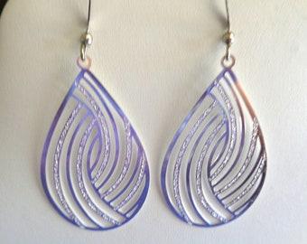 Silver teardrop earrings, shiny silver earrings, hypo allergenic, teardrop lightweight earrings, lead free earrings