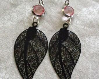 Filigree earrings, black filigree, pink and black earrings, hypo allergenic