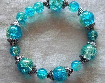 Crackle Glass bracelet, teal, silver tone, Pale yellow, stretchy