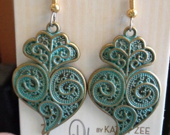 Antique copper finished earrings, nickel free, patina, hypo allergenic