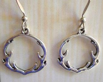 Deer antler earrings, silver antlers, lead free earrings, nickel free earrings, hypo allergenic