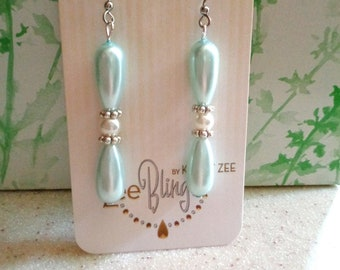Blue and white pearl earrings, wedding earrings, hypo allergenic, long dangles