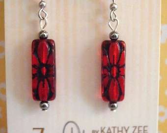 Red earrings, Czech bead, rich color, hypo allergenic ear wires