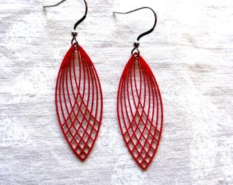 Red filigree earrings, lead free earrings, nickel free earrings, hypo allergenic jewelry