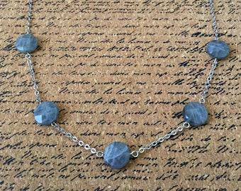Five Round Faceted Labradorite Bead Necklace Silver Tone Chain