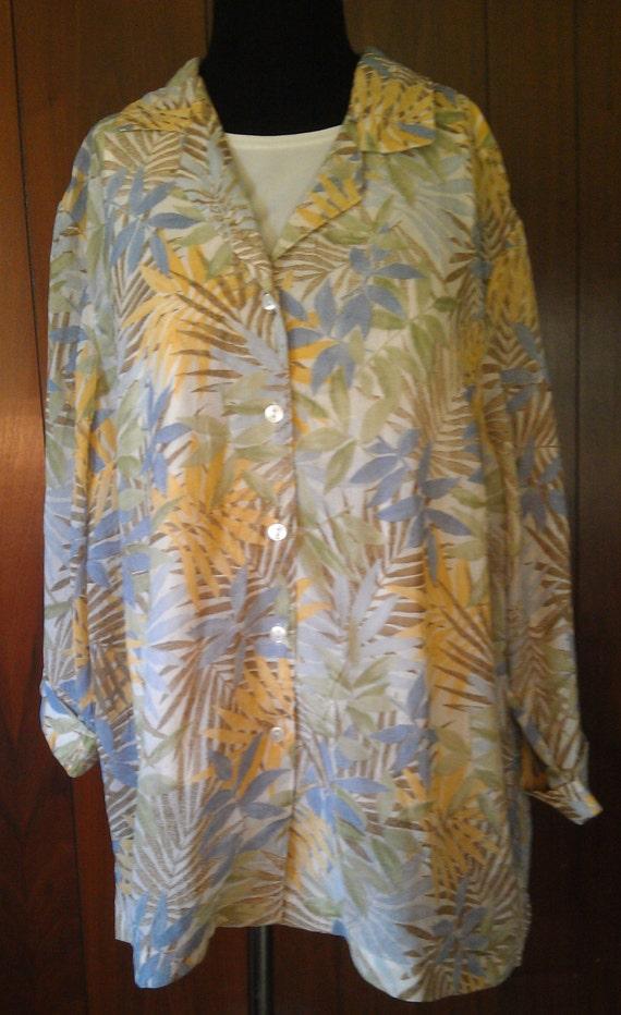 Floral Shirt, 80s Floral Shirt, Sheer Shirt, Hawai