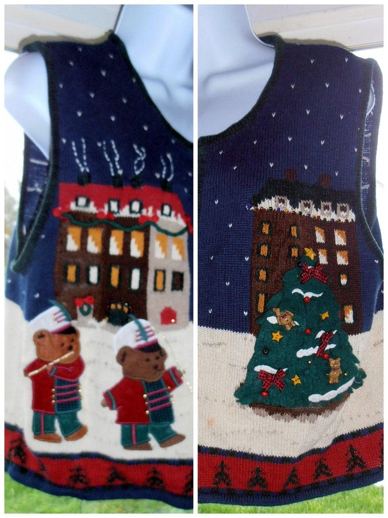 Drummer Bears Xmas Epsteam Ugly Sweater Medium Sweater Blue Christmas Sweater Vest Christmas Sweater Holiday Sweater