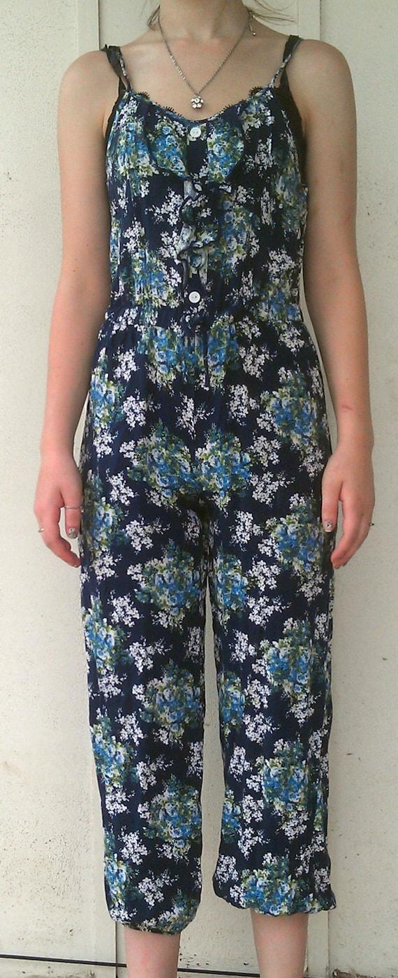Vintage Jumpsuit, Romper, 90s romper, Navy Romper,