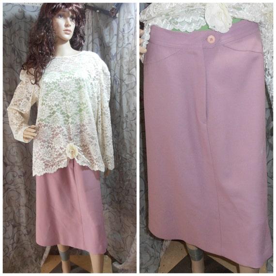 Vintage Skirt, Pink Skirt, 70s Skirt, Maxi Skirt,