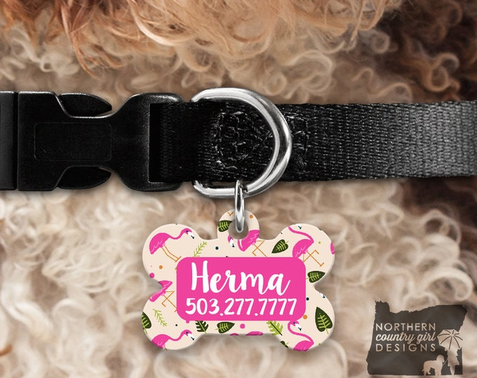 Custom Dog Tag for Dogs Dog ID Tags Personalized Pet Flamingos Pet Tag Pet Tags Pet ID Tag Pet id Tags for Dog Tag ID Dog Tag Dog Tags