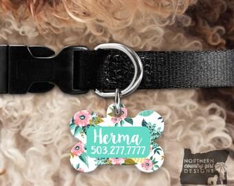 Custom Dog Tag for Dogs Dog ID Tags Personalized Pet Floral Pet Tag Pet Tags Pet ID Tag Pet id Tags for Dog Tag ID Dog Tag Dog Tags