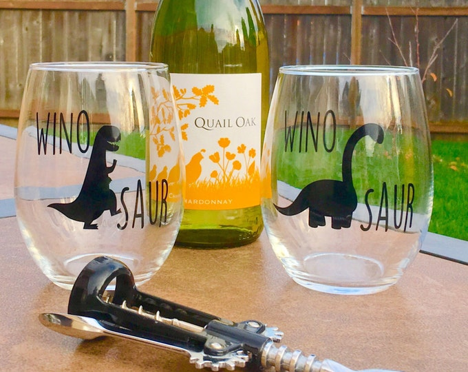 Winosaur Wine Glass Set // Dinosaur Wine Glass // Dino Wine Glass // Wine-o-saur Wine Glass // Dinosaur // Made in USA
