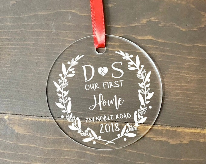 first home ornament / housewarming gift / Christmas ornament / new home ornament / our first home / first home / custom ornament / monogram