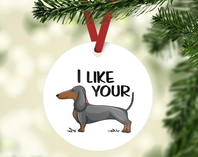 READY TO SHIP / I like your wiener / wiener dog / dachshund / dog / dachshund gift / sausage dog / white elephant gift / dog lover gift