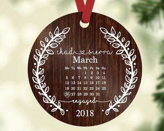 Engagement Ornament - Personalized With Names and Date - Engagement Gift or Christmas Gift, Custom Christmas Engaged Ornament