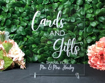 Sign for Wedding Gift Table - Gift Table Sign For Wedding - Cards and Gifts Sign - Cards and Gifts Wedding Sign - Acrylic Wedding Gift Sign