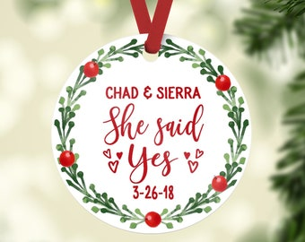 engagement ornament / she said yes / wedding gift / engagement gift / bridal gift / christmas ornament / custom ornament / wedding ornament