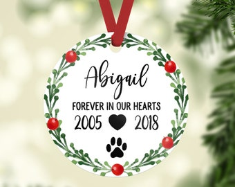 Pet Memorial Ornament Pet Memorial Gifts Dog Memorial Gift Dog Memorial Ornament Dog Memory Christmas Ornament Pet Loss Gifts Custom Years