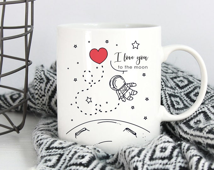 Ready to Ship Moon mug / To the moon and back / I love you / Love you to the moon / Moon and back / Boyfriend mug / Boyfriend gift / gf gift