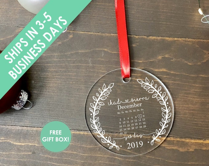 Yes Day Engagement Christmas Ornament / Engagement Ornament with Calendar / Date of Engagement Christmas Ornament