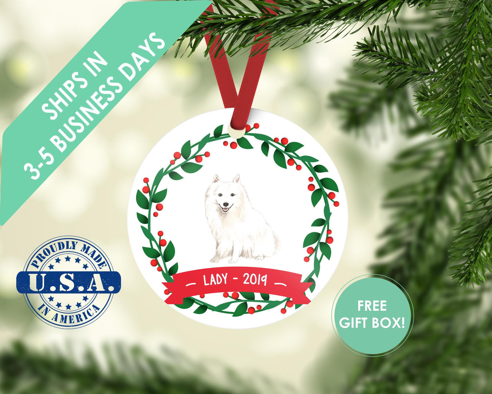 Japanese Spitz ornament Dog ornament pet ornament custom dog ornament personalize dog dog lover gift dog christmas ornament American eskimo