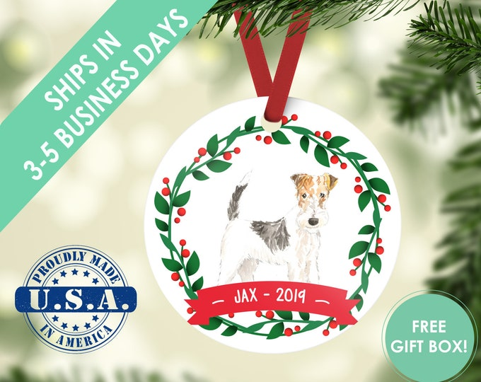Fox Terrier ornament Dog ornament pet ornament custom dog ornament personalize dog dog lover gift dog christmas ornament terrier ornament