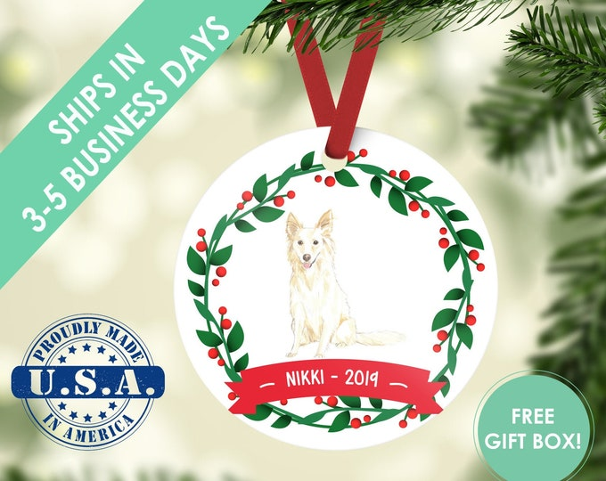 White Collie ornament Dog ornament pet ornament custom dog ornament personalized dog dog lover gift dog christmas ornament collie ornament