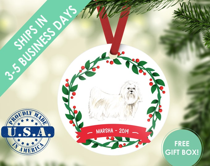 Maltese ornament Dog ornament pet ornament custom dog ornament personalized dog dog lover gift dog christmas ornament maltese dog