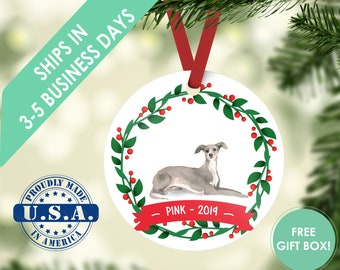 Italian greyhound ornament Dog ornament pet ornament custom dog ornament personalized dog dog lover gift dog christmas ornament greyhound