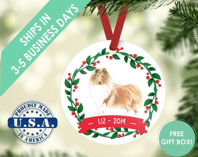 Rough Collie ornament Dog ornament pet ornament custom dog ornament personalized dog dog lover gift dog christmas ornament collie ornament