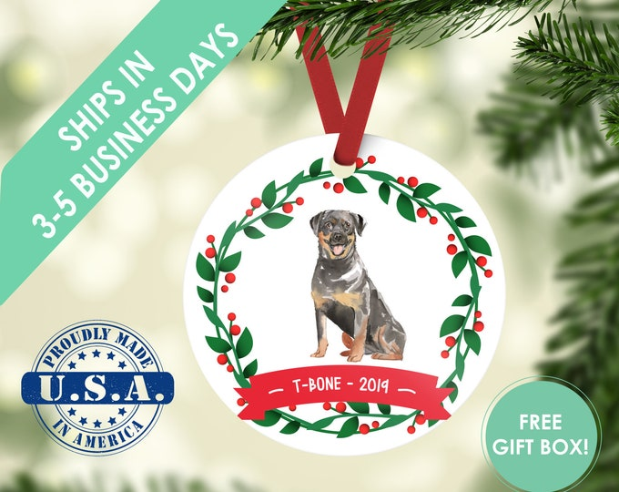 Rottweiler ornament Dog ornament pet ornament custom dog ornament personalized dog dog lover gift dog christmas ornament Rottweiler