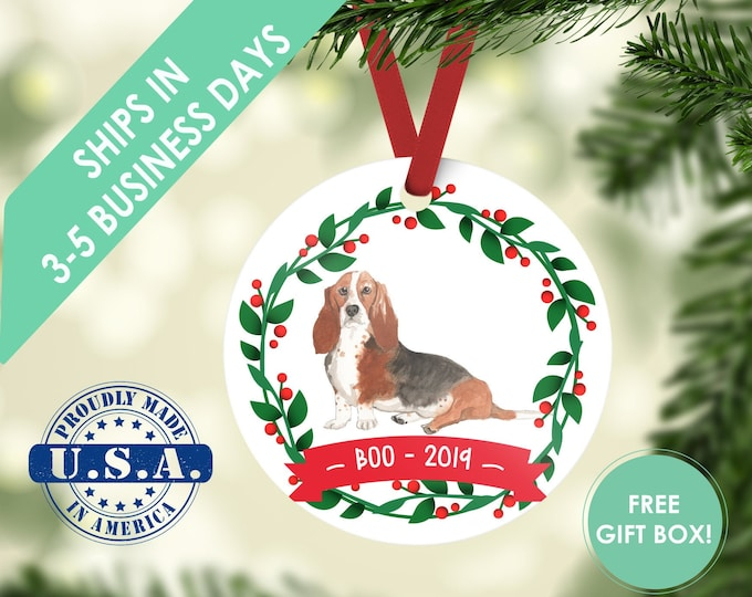 basset hound ornament Dog ornament pet ornament custom dog ornament personalized dog dog lover gift dog christmas ornament basset hound