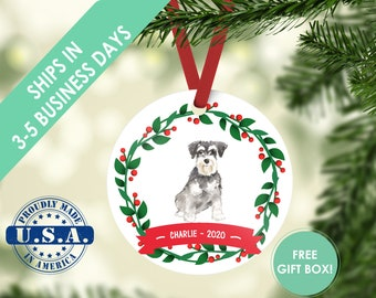 Schnauzer ornament Dog ornament pet ornament custom dog ornament personalized dog dog lover gift dog christmas ornament miniature schnauzer
