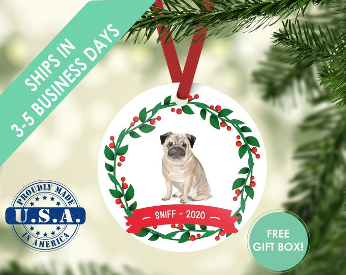 pug ornament Dog ornament pet ornament custom dog ornament personalized dog dog lover gift dog christmas ornament pug pug gift pug customize