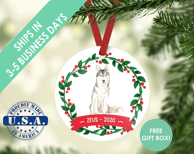 Siberian Husky ornament Dog ornament pet ornament custom dog ornament personalized dog dog lover gift dog christmas ornament husky ornament