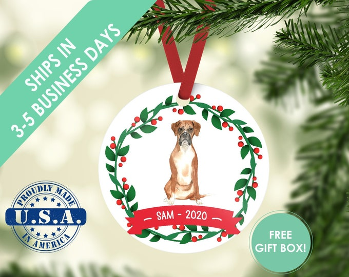 Boxer ornament Dog ornament pet ornament custom dog ornament personalized dog dog lover gift dog christmas ornament Boxer custom ornament