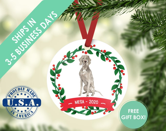 Weimaraner ornament Dog ornament pet ornament custom dog ornament personalized dog dog lover gift dog christmas ornament Weimaraner dog