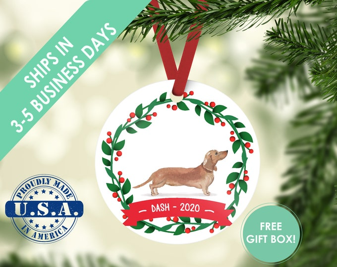 dachshund ornament, Dog ornament, pet ornament, custom dog ornament, personalized dog dog lover gift, dog christmas ornament weiner dog