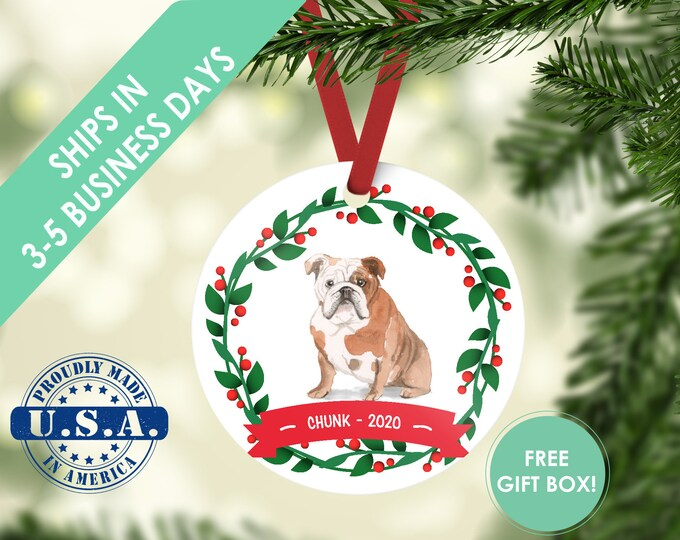 English bulldog ornament Dog ornament pet ornament custom dog ornament personalized dog dog lover gift dog christmas ornament bulldog gift