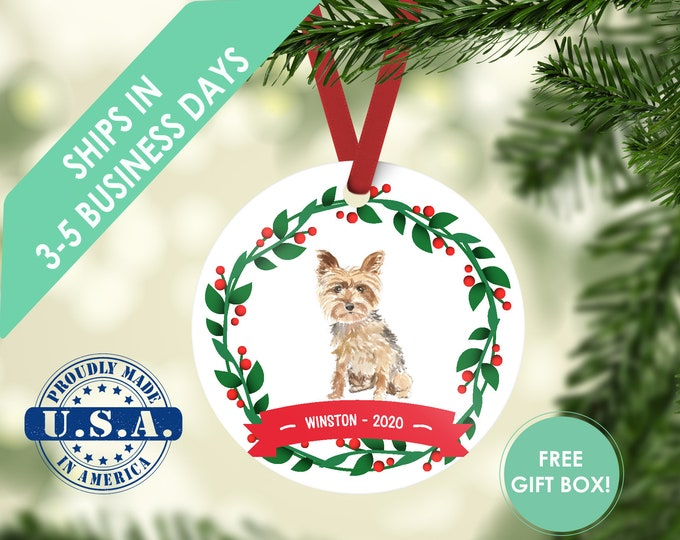 yorkie ornament Dog ornament pet ornament custom dog ornament personalize dog dog lover gift dog christmas ornament yorkshire terrier