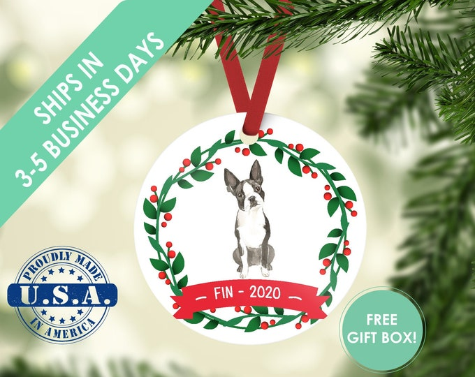 boston terrier ornament Dog ornament pet ornament custom dog ornament personalized dog dog lover gift dog christmas ornament Boston terrier