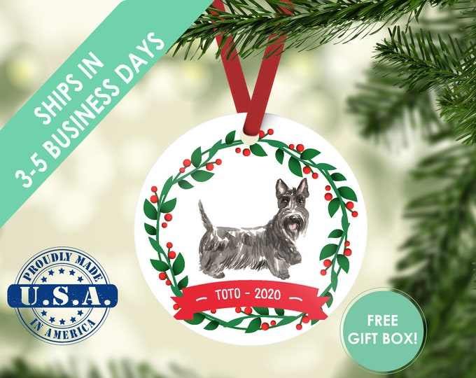 Scottish terrier ornament Dog ornament pet ornament custom dog ornament personalized dog dog lover gift dog christmas ornament scotty dog