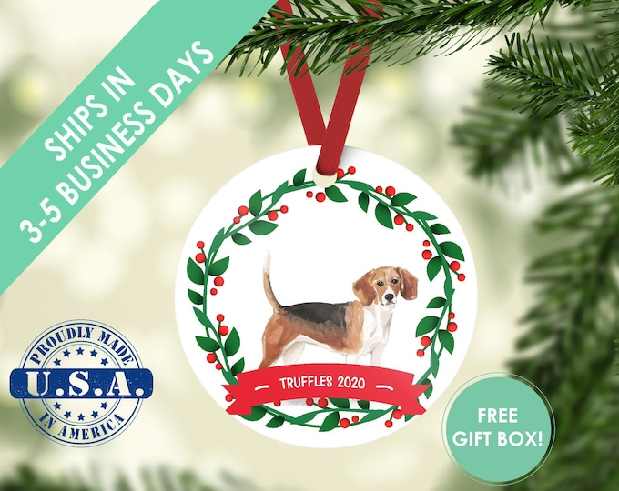Beagle Ornament, Dog ornament, pet ornament, custom dog ornament, personalized dog dog lover gift, dog christmas ornament, beagle christmas