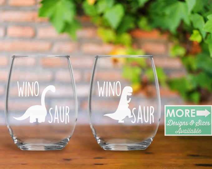 dinosaur wine glass set / dinosaur / winosaur / dinosaur party / dinosaur birthday / dinosaur shirt / wine glass / stemless wine glass /wine