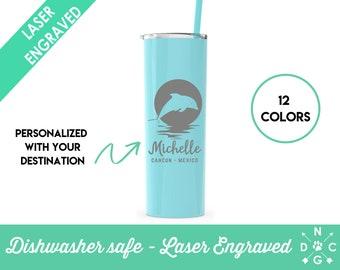 Vacation Tumbler | Personalized Tumbler | Mexico Tumbler | Cancun | Beach Tumbler | Glitter Tumbler | Glitter Beach Tumbler | Dolphin