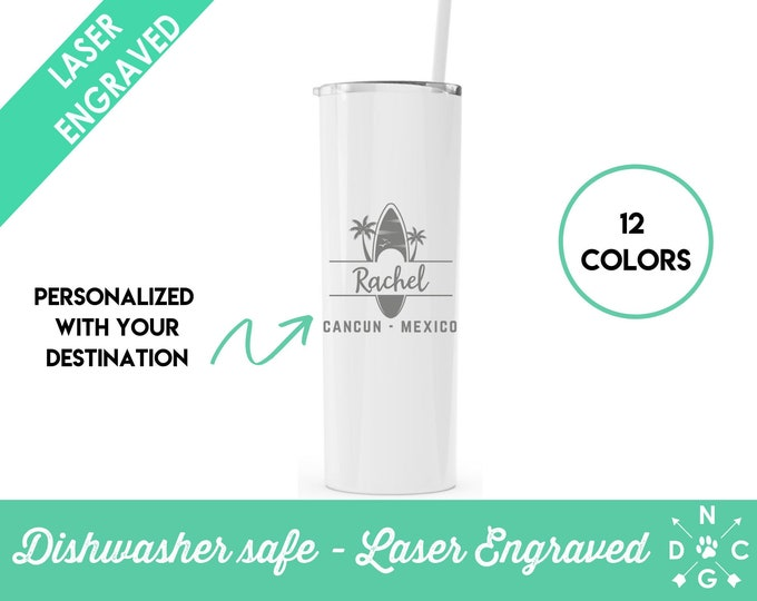 Vacation Tumbler | Personalized Tumbler | Mexico Tumbler | Cancun | Beach Tumbler | Glitter Tumbler | Glitter Beach Tumbler | Girls Weekend