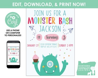 Monster Party Invitation Template / Monster Birthday Invitation / Monster Invitation / INSTANT ACCESS - Edit NOW! / Monster Party First