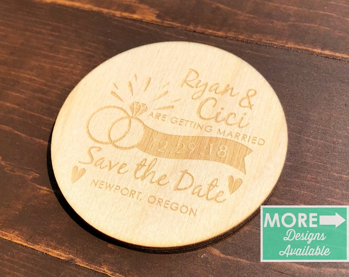 save the date wood magnet / save the date / invitations / save the date cards / save the date stamp / wedding / wedding favor / invitations